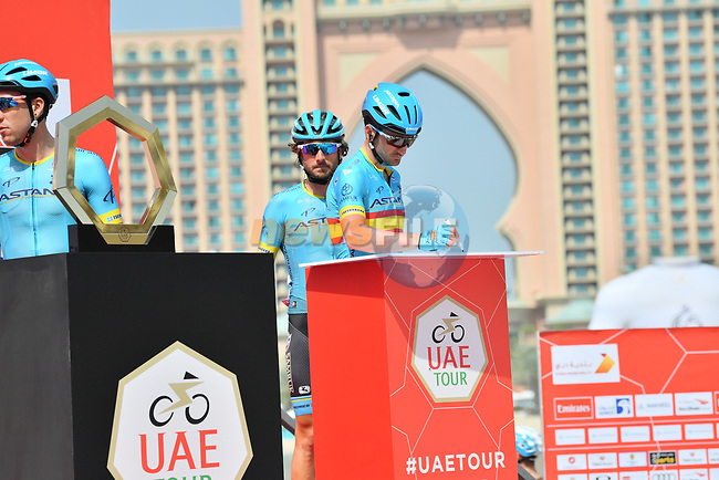 Astana Pro Cycling sign on before the start of Stage 4 of the 2019 UAE Tour, running 197km form The Pointe Palm Jumeirah to Hatta Dam, Dubai, United Arab Emirates. 26th February 2019.<br /> Picture: LaPresse/Massimo Paolone | Cyclefile<br /> <br /> <br /> All photos usage must carry mandatory copyright credit (© Cyclefile | LaPresse/Massimo Paolone)