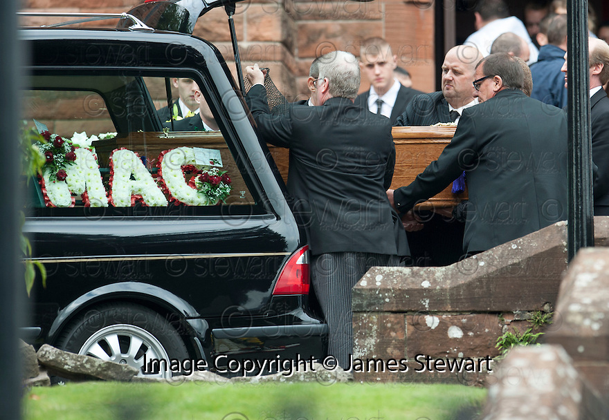The coffin of former crime family matriarch Mags Haney is carried out of St Mary's RC Church in Stirling.