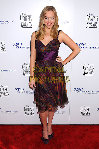 ANDREA BOWEN.22nd Annual Genesis Awards at the Beverly Hilton Hotel, Beverly Hills, California, USA..March 29th, 2008.full length purple burgundy dress hand on hip pattern .CAP/ADM/BP.©Byron Purvis/AdMedia/Capital Pictures.
