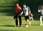 Tiger WOODS (USA) und sein Caddie, 4.Runde, 88th PGA Championship Golf, Medinah Country Club, IL, USA