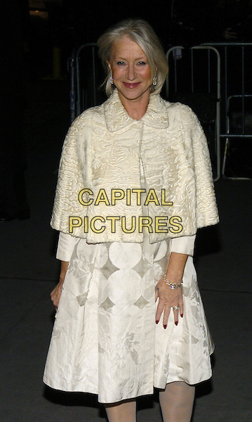HELEN MIRREN.The 2006 National Board Of Review Awards Gala at Cipriani on 42nd Street, New York, New York, USA. - Arrivals.January 9th, 2007.half length white dress pattern shawl wrap cape fur cream.CAP/ADM/BL.©Bill Lyons/AdMedia/Capital Pictures *** Local Caption ***