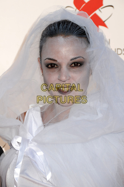 EVA LA RUE .17th Annual Dream Halloween Benefit for the Children Affected by Aids Foundation held at Barker Hangar, Santa Monica, California, USA, .30th October 2010..portrait headshot make-up bride white veil face paint costume outfit dressed up .CAP/ADM/BP.©Byron Purvis/AdMedia/Capital Pictures.