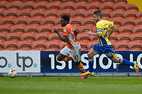 Blackpool's Bright Osayi-Samuel is chased by Accrington Stanley's Luke Wall<br /> <br /> Photographer Terry Donnelly/CameraSport<br /> <br /> The EFL Sky Bet League Two - Blackpool v Accrington Stanley - Friday 14th April 2017 - Bloomfield Road - Blackpool<br /> <br /> World Copyright &copy; 2017 CameraSport. All rights reserved. 43 Linden Ave. Countesthorpe. Leicester. England. LE8 5PG - Tel: +44 (0) 116 277 4147 - admin@camerasport.com - www.camerasport.com