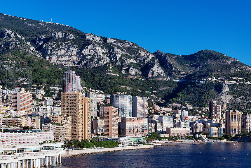 Waterfront view of city skyline and mountains, Monte Carlo, Monaco