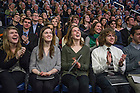 Mar. 4, 2015; Students react as they listen to former President of the United States, Jimmy Carter speak during a tribute ceremony in the Purcell Pavilion to honor the life of the late President Emeritus Rev. Theodore M. Hesburgh, C.S.C. (Photo by Barbara Johnston/University of Notre Dame)