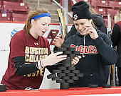 Grace Bizal (BC - 2), Alex Carpenter (BC - 5) - The Boston College Eagles defeated the Northeastern University Huskies 5-1 (EN) in their NCAA Quarterfinal on Saturday, March 12, 2016, at Kelley Rink in Conte Forum in Boston, Massachusetts.