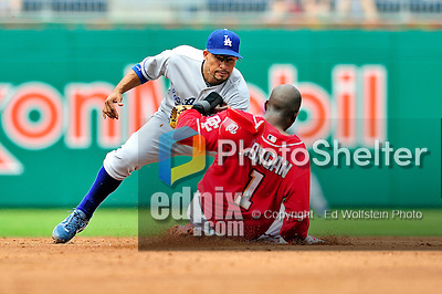 25 April 2010: Los Angeles Dodgers' shortstop Rafael Furcal gets Nyjer Morgan out at second during a game against the Washington Nationals at Nationals Park in Washington, DC. The Nationals shut out the Dodgers 1-0 to take the rubber match of their 3-game series. Mandatory Credit: Ed Wolfstein Photo