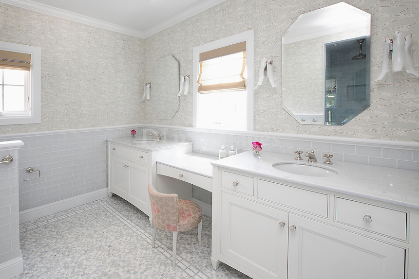 classic design bathroom with double washstand
