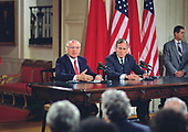 United States President George H.W. Bush, right, and President Mikhail Gorbachev of the Union of Soviet Socialist Republics, left, hold a joint press conference at the conclusion of their summit in the East Room of the White House in Washington, DC on Sunday, June 3, 1990.  <br /> Credit: Ron Sachs / CNP