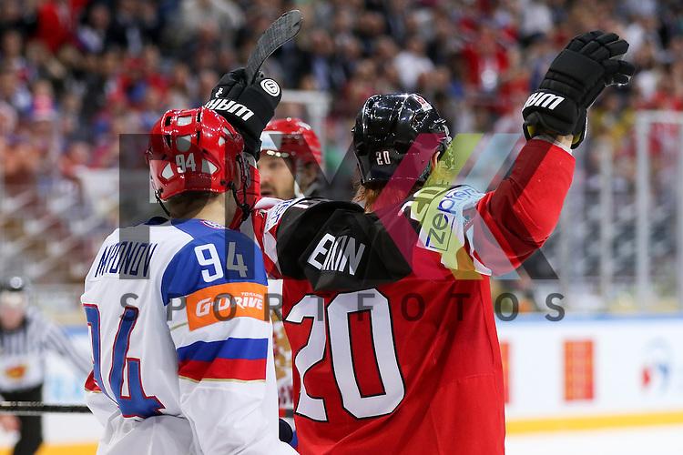 Canadas Eakin, Cody (Nr.20) reisst die Arme zum Jubel hoch, Tor Kanada im Spiel IIHF WC15 Finale Russia vs. Canada.<br /> <br /> Foto &copy; P-I-X.org *** Foto ist honorarpflichtig! *** Auf Anfrage in hoeherer Qualitaet/Aufloesung. Belegexemplar erbeten. Veroeffentlichung ausschliesslich fuer journalistisch-publizistische Zwecke. For editorial use only.