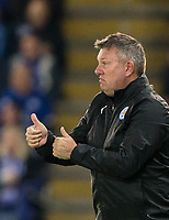 Leicester City Manager Craig Shakespeare puts thumbs up during the UEFA Champions League QF 2nd Leg match between Leicester City and Atletico Madrid at the King Power Stadium, Leicester, England on 18 April 2017. Photo by Andy Rowland.