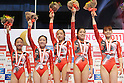 Japan team group (JPN),JULY 2nd, 2011 - Artistic Gymnastics :Second placed Japan team (L-R) Asuka Teramoto, Koko Tsurumi, Yumi Iizuka, Yuko Shintake and Rie Tanaka celebrate on the podium with silver medals after the Japan Cup 2011 Women's Team All-Around at Tokyo Metropolitan Gymnasium in Tokyo, Japan. (Photo by AZUL/AFLO)