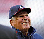 30 March 2008: Atlanta Braves' Manager Bobby Cox talks to members of the press prior to the Opening Day Game against the Washington Nationals at Nationals Park in Washington, DC. The Nationals christened their  new ballpark with a win over the visiting Braves 3-2 in the inaugural game of the state-of-the-art sports facility...Mandatory Photo Credit: Ed Wolfstein Photo
