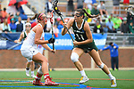 TAMPA, FL - MAY 20: Sidney Hall #11 of the Le Moyne Dolphins attacks the goal against the Florida Southern Mocs during the Division II Women's Lacrosse Championship held at the Naimoli Family Athletic and Intramural Complex on the University of Tampa campus on May 20, 2018 in Tampa, Florida. Le Moyne defeated Florida Southern 16-11 for the national title. (Photo by Jamie Schwaberow/NCAA Photos via Getty Images)
