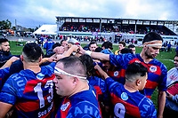 Rahui huddles at halftime during the Horowhenua-Kapiti premier club rugby union final between Toa and Rahui at Levin Domain in Levin, New Zealand on Saturday, 28 July 2018. Photo: Dave Lintott / lintottphoto.co.nz