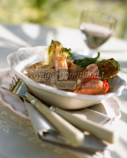"""Europe/Provence-Alpes-Côte d'Azur/83/Var/Rayol-Canadel-sur-Mer: Langoustines aux poivrades recette de l hôtel """"Le Bailli de Suffren"""""""