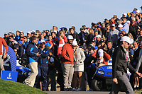 Jon Rahm (Team Eurpe) and girlfriend Kelley Cahill at the 12th tee during Saturday Foursomes at the Ryder Cup, Le Golf National, Ile-de-France, France. 29/09/2018.<br /> Picture Thos Caffrey / Golffile.ie<br /> <br /> All photo usage must carry mandatory copyright credit (© Golffile | Thos Caffrey)