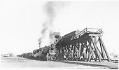 D&amp;RGW #489 and #487 with a freight coaling-up at  the Antonito coaling trestle.<br /> D&amp;RGW  Antonito, CO  Taken by Peyton, Ernie S. - 11/13/1949