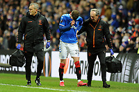 Borna Barisic of Rangers leaves the pitch appearing to be injured during Rangers vs SC Braga, UEFA Europa League Football at Ibrox Stadium on 20th February 2020