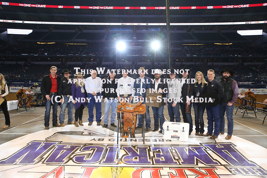 Wesley Thorp wins the All Around during the RFDTV's The American Rodeo presented by Dish. Photo by Andy Watson. Photo credit must be given on all use; Photo by; Andy Watson/ Bull Stock Media