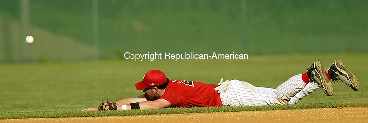 WATERBURY, CT 06/24/08- 062408BZ14-  Waterbury Post 1's  Kyle Murphy (27) couldn't make the diving catch against Naugatuck during their American Legion game at Municipal Stadium Wednesday.<br /> Jamison C. Bazinet Republican-American