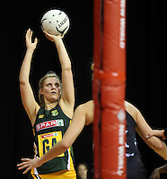26.07.2015 South Africa's Maryka Holtzhausen in action during the Silver Fern v South Africa netball test match played at Claudelands Arena in Hamilton. Mandatory Photo Credit ©Michael Bradley.