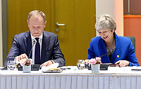 10 April 2019 - President of the European Council Donald Tusk and British Prime Minister Theresa May attend a round table meeting in Brussels, Belgium.Theresa May formally presents her case to the European Union for a short delay to Brexit until 30 June 2019. The other EU leaders will then then discuss how to respond at a dinner without her. Photo Credit: ALPR/AdMedia