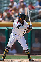Eric Young Jr. (8) of the Salt Lake Bees bats against the El Paso Chihuahuas at Smith's Ballpark on July 8, 2018 in Salt Lake City, Utah. El Paso defeated Salt Lake 15-6. (Stephen Smith/Four Seam Images)