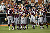 Texas A&M Aggies pitcher Ross Stripling #36 is congratulated by his teammates after throwing a complete game shutout against the Texas Longhorns in NCAA Big XII Conference baseball on May 21, 2011 at Disch Falk Field in Austin, Texas. (Photo by Andrew Woolley / Four Seam Images)