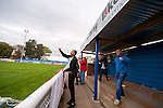 Concord Rangers 0 Hayes and Yeading United 3, 17/10/2015. Thames Road, Football Conference South. Concord Rangers in play host to Hayes and Yeading United in a Conference South League match. The match was won by the away side by 3 goals to 0. Thames Road Stadium is sandwiched between a caravan park and a gas works on Canvey Island. Hayes supporters celebrate the opening goal. Photo by Simon Gill