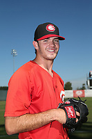 Zach Logue (28) of the Vancouver Canadians poses for a photo before a game against the Salem-Keizer Volcanoes at Volcanoes Stadium on July 24, 2017 in Keizer, Oregon. Salem-Keizer defeated Vancouver, 4-3. (Larry Goren/Four Seam Images)