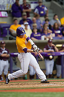 LSU Tigers catcher Kade Scivicque (22) swings the bat during the Southeastern Conference baseball game against the Texas A&M Aggies on April 25, 2015 at Alex Box Stadium in Baton Rouge, Louisiana. Texas A&M defeated LSU 6-2. (Andrew Woolley/Four Seam Images)