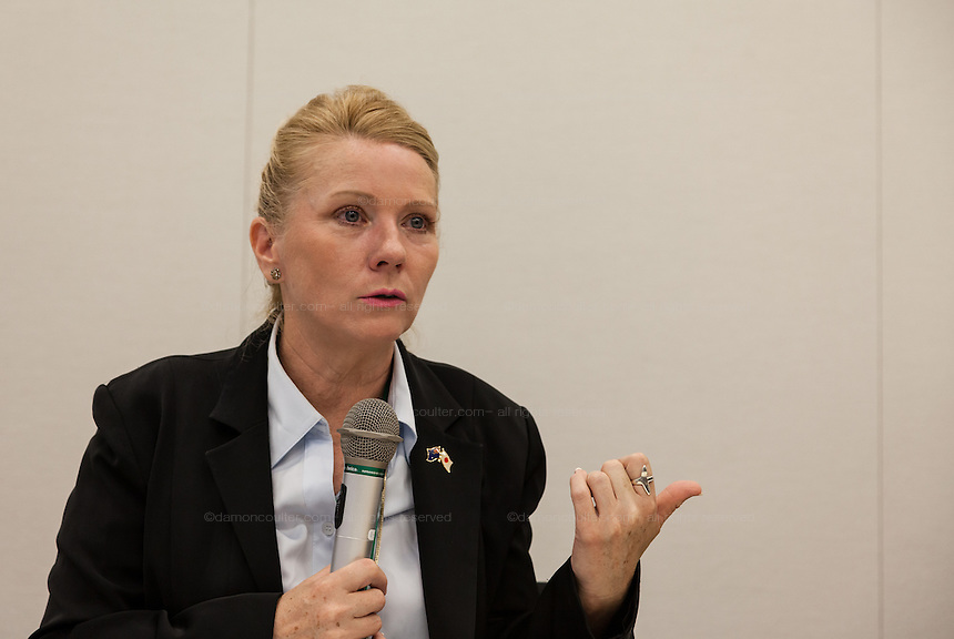 "Rape Survivor and activist, Catherine ""Jane"" Fisher at a press conference to publicise her book  in the First Office Building of the Members of the House of Representatives, Nagatacho, Tokyo, Japan, Friday July 18th 2014. Ms Fisher was raped near Yokosuka US Naval Base in Kanagawa in 2002 and has been campaign for the rights of rape victims in Japan since after finding the US Military and Japanese police obstructive and uninterested in bringing her attacker to justice."