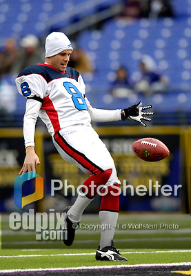 31 December 2006: Buffalo Bills punter Brian Moorman warms up prior to a game against the Baltimore Ravens at M&amp;T Bank Stadium in Baltimore, Maryland. The Ravens defeated the Bills 19-7. Mandatory Photo Credit: Ed Wolfstein Photo.<br />