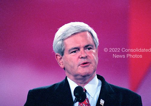 The Speaker of the United States House of Representatives Newt Gingrich (Republican of Georgia) speaks at the 1996 Republican National Convention at the San Diego Convention Center in San Diego, California on August 14, 1996.  <br /> Credit: Ron Sachs / CNP