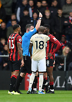 2nd November 2019; Vitality Stadium, Bournemouth, Dorset, England; English Premier League Football, Bournemouth Athletic versus Manchester United; disagreement between players ends with a yellow card for Jefferson Lerma of Bournemouth and Fred of Manchester United - Strictly Editorial Use Only. No use with unauthorized audio, video, data, fixture lists, club/league logos or 'live' services. Online in-match use limited to 120 images, no video emulation. No use in betting, games or single club/league/player publications