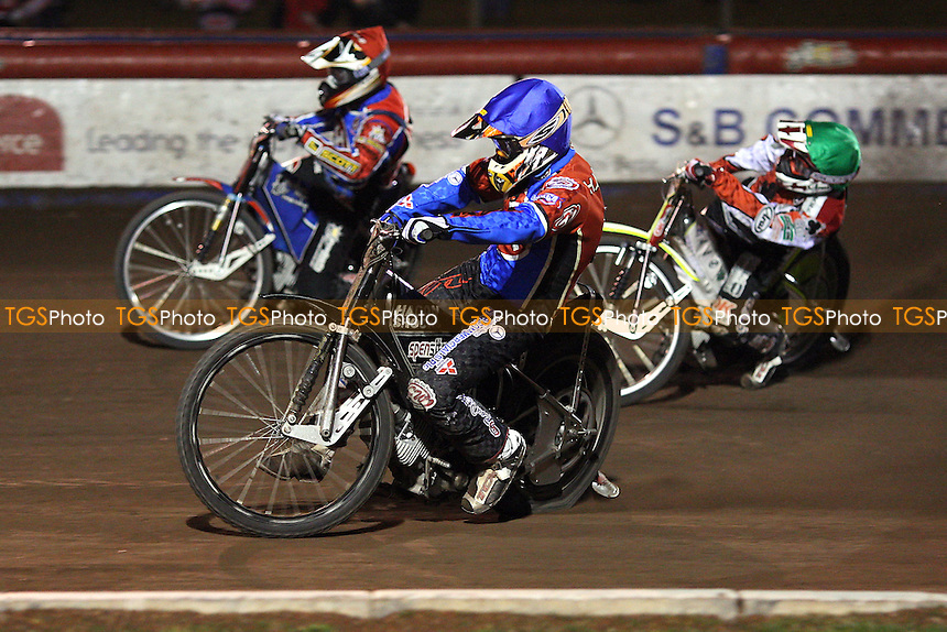 Heat 10: Jonsson (red), Bridger (blue) and Gjedde - Lakeside Hammers vs Belle Vue Aces - Sky Sports Elite League Speedway at Arena Essex, Purfleet - 10/09/08 - MANDATORY CREDIT: Gavin Ellis/TGSPHOTO - Self billing applies where appropriate - 0845 094 6026 - contact@tgsphoto.co.uk - NO UNPAID USE.