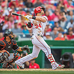 14 May 2016: Washington Nationals outfielder Bryce Harper at bat during the first game of a double-header against the Miami Marlins at Nationals Park in Washington, DC. The Nationals defeated the Marlins 6-4 in the afternoon matchup.  Mandatory Credit: Ed Wolfstein Photo *** RAW (NEF) Image File Available ***
