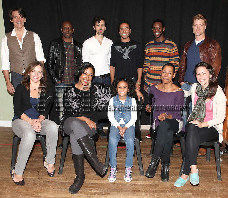 Front Row: Alice Ripley, De'adre Aziza, Sumaya Bouhbal, Karen Kandel, Rachel Spencer Hewitt  Back Row: Bob Stillman, K. Todd Freeman, Chris Henry, Jonathan-David,Antwayn Hopper, Sean Allan Krill  attending the Meet & Greet for the New York Theatre Workshop production of 'A Civil War Christmas' at their rehearsal studios on October 16, 2012 in New York City.