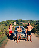 CROATIA, Dalmatian Coast, portrait of local guys in Korcula. They just came from a swim in the ocean.