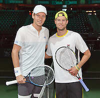 10-02-14, Netherlands,Rotterdam,Ahoy, ABNAMROWTT,, , Andreas Seppi(ITA) and Tomas Berdych(CZE)<br /> Photo:Tennisimages/Henk Koster