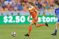 Houston, TX - Wednesday June 28, 2017: Janine Beckie brings the ball up the field during a regular season National Women's Soccer League (NWSL) match between the Houston Dash and the Boston Breakers at BBVA Compass Stadium.