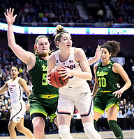 UNCASVILLE, CONNECTICUT -MAR 06: , UCONN ladies defeated USF 70-54 as #33 Katie Lou Samuelson grabs a rebound  in the finals of the AAC tournament on March 6, 2018 in Uncasville, Connecticut. ( Photo by D. Heary/Eclipse Sportswire/Getty Images)