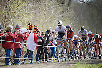 Fabian Cancellara (SUI/Trek-Segafredo) in the infamous Trou&eacute;e d'Arenberg / Wallers Forest (2.4km), followed closely by Daniel Oss (ITA/BMC) &amp; World Champion Peter Sagan (SVK/Tinkoff)<br /> <br /> 114th Paris-Roubaix 2016