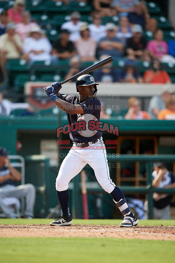 Detroit Tigers center fielder Daz Cameron (75) at bat during a Grapefruit League Spring Training game against the Atlanta Braves on March 2, 2019 at Publix Field at Joker Marchant Stadium in Lakeland, Florida.  Tigers defeated the Braves 7-4.  (Mike Janes/Four Seam Images)