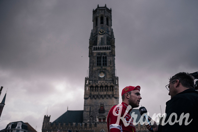 Bert Van Lerberghe (BEL/Cofidis) interviewed at the race start in the Central Square in Bruges<br /> <br /> Driedaagse Brugge-De Panne 2018<br /> Bruges - De Panne (202km)