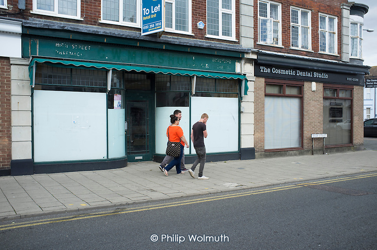Closed high street shop in Clacton. The resort is the second most deprived seaside town in the UK.