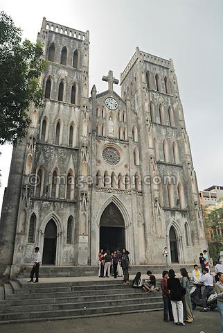 Asia, Vietnam, Hanoi. Hanoi old quarter. St. Joseph' Cathedral (Nha Tho).