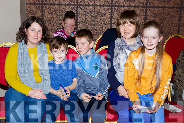 Caroilne O'Connor, Leonard Brady, Daniel and Anne Cronin and Reidin Brady at the Gaelscoil Faitleann bingo in the Gleneagle Hotel on Sunday
