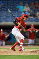 Clearwater Threshers shortstop Arquimedes Gamboa (7) follows through on a swing during a game against the Jupiter Hammerheads on April 12, 2018 at Spectrum Field in Clearwater, Florida.  Jupiter defeated Clearwater 8-4.  (Mike Janes/Four Seam Images)